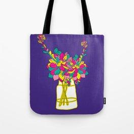 Floral bouquet in vase colorful digital illustration Tote Bag