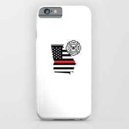 Georgia Firefighter Shield Thin Red Line Flag iPhone Case
