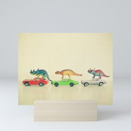 Dinosaurs Ride Cars Mini Art Print