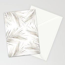 White Gold Palm Leaves on White Stationery Cards