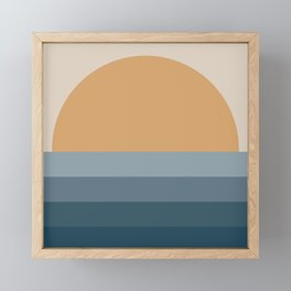 Minimal Retro Sunset / Sunrise - Ocean Blue Framed Mini Art Print