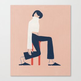 Minimalist on a Red Stool Canvas Print