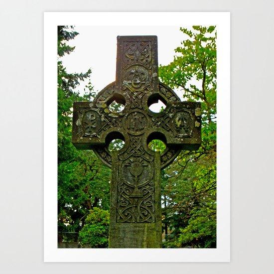 Celtic cross gravestone Art Print