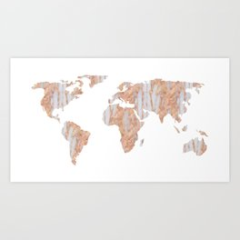 World Map Marble Pink Rose Yellow Gold Glitter Art Print