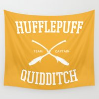 hufflepuff Wall Tapestries featuring Hogwarts Quidditch Team: Hufflepuff by IA Apparel