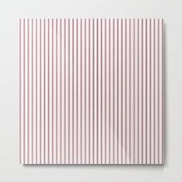 Dark Red Pear Mattress Ticking Narrow Striped Pattern - Fall Fashion 2018 Metal Print