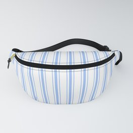Mattress Ticking Wide Striped Pattern in Pale Blue and White Fanny Pack