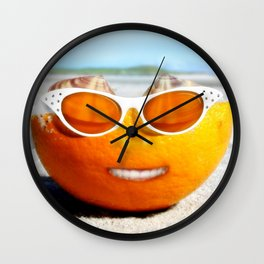 Beached Orange Wall Clock