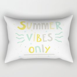 Summer Vibes Only - handlettering quote design in pastel colors palette for T-shirts and other stuff Rectangular Pillow