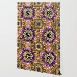 OM SHANTI Magic Lights Mandala Wallpaper