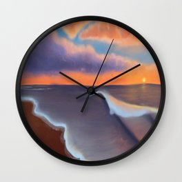 Lavender Beach Sunset Wall Clock