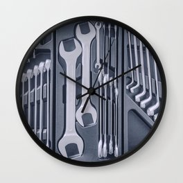 Set of Wrenches inside Toolbox, Keys and Spanners, Box with Set of Tools, Set Mechanical Tools. Wall Clock