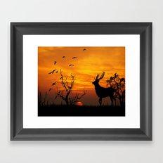 Sunset Deer Silhouette Framed Art Print