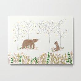Bear in Woods Metal Print