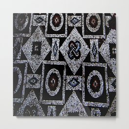 Black White Blue Red Mosaic Print Metal Print