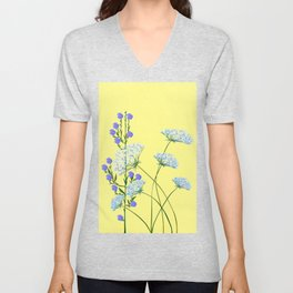 My Kentucky Wild Flowers, Queen Anne Lace and Flax Unisex V-Neck