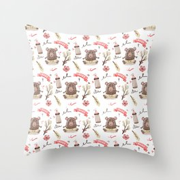 Cute Baby Pattern Bear Design. Throw Pillow