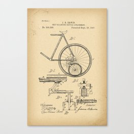 1897 Patent Bicycle Velocipede Canvas Print