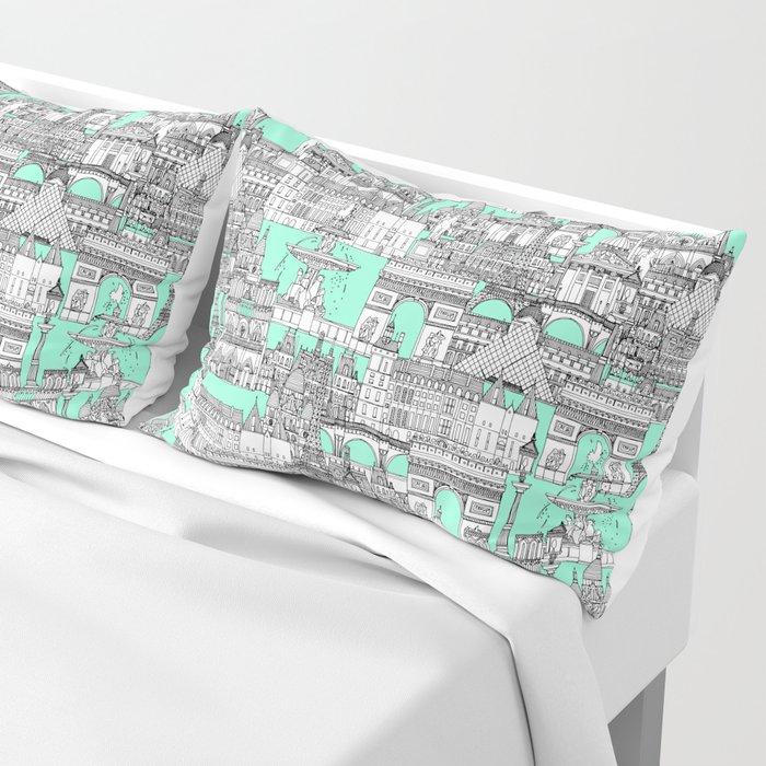 Paris toile aquamarine Pillow Sham