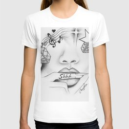 Rihanna - Shine bright like a diamond 'Shhh..' lips - Ashley Rose T-shirt
