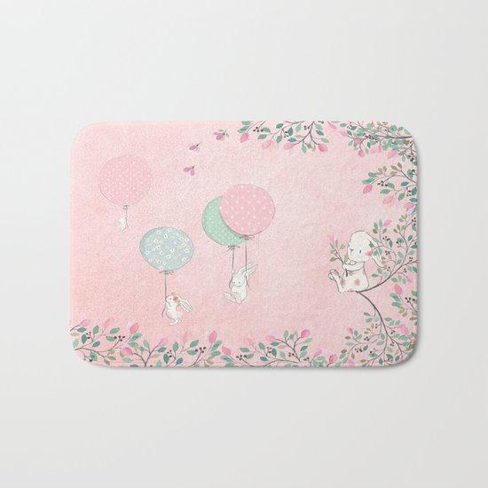 Cute flying Bunny with Balloon and Flower Rabbit Animal on pink floral backround Bath Mat