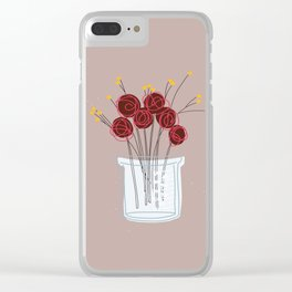 Maroon Test Jar Flowers Clear iPhone Case