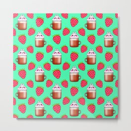 Cute little happy funny pink little baby bunnies sitting in cappuccino coffee cups, yummy red ripe sweet summer strawberries pretty pastel green fruity pattern design. Metal Print
