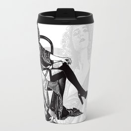 Retro Woman Wearing Vintage Lingerie and Drinking from Flask Travel Mug