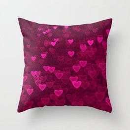 Valentine's Day | Romantic Crimson Galaxy | Universe of pink purple hearts Throw Pillow