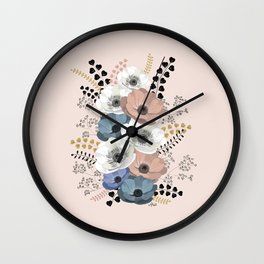 Anemones bouquet pink pastel Wall Clock
