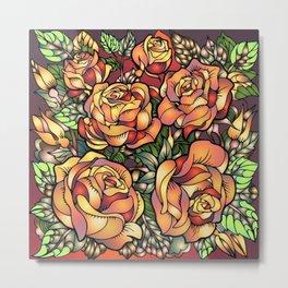 Orange Shaded Floral Metal Print