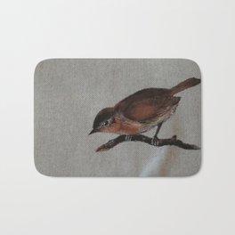 A red Bird Bath Mat