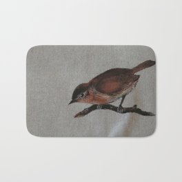 A red Bird Bath Mat