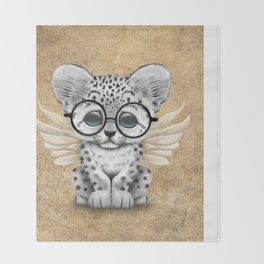 Snow Leopard Cub Fairy Wearing Glasses Throw Blanket