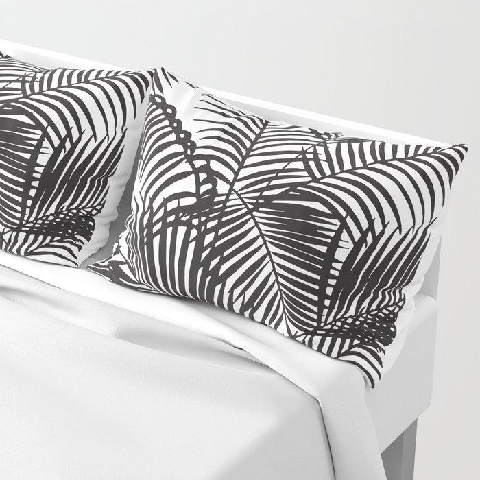 Modern black tropical palm trees pattern Pillow Sham
