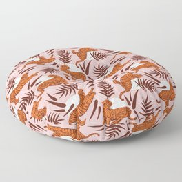 Vibrant Wilderness / Tigers on Pink Floor Pillow