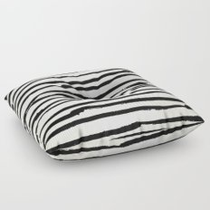 Tribal Stripes Black Earth on Ivory Cream Floor Pillow