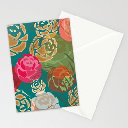 Golden roses on green Stationery Cards