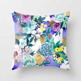 Floral Patterns in Contemporary Designs and Colors Throw Pillow
