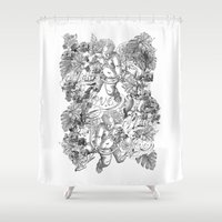 angels Shower Curtains featuring ANGELS by TOO MANY GRAPHIX