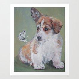 Pembroke Welsh Corgi dog portrait painting by L.A.Shepard fine art Art Print