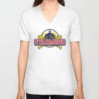 earthbound V-neck T-shirts featuring Starmens by MeleeNinja