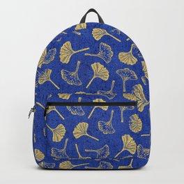 Ginkgo Biloba linocut pattern GLITTER GOLD DEEP BLUE Backpack