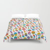moon phases Duvet Covers featuring Moon phases by Helene Michau