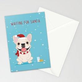 French Bulldog Waiting for Santa - Cream Edition Stationery Cards