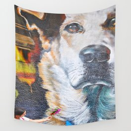 Few flowers as a tribute to the Loukanikos dog from Elisavet Wall Tapestry