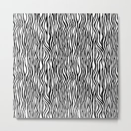 Black and White Tiger Stripes Animal Print Metal Print