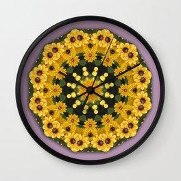 Black-eyed Susans, Nature Flower Mandala, Floral mandala-style Wall Clock