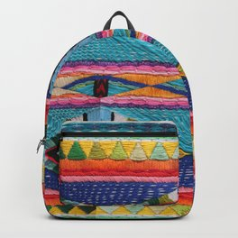 Rainbow Tribal Embroidery Backpack