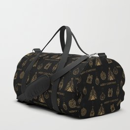 Christmas Golden pattern on black background. Duffle Bag